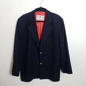 Aquascutum Men's Wool Sport Coat Navy Blue